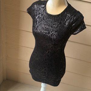 Alice + Olivia black sequin short sleeve dress 0